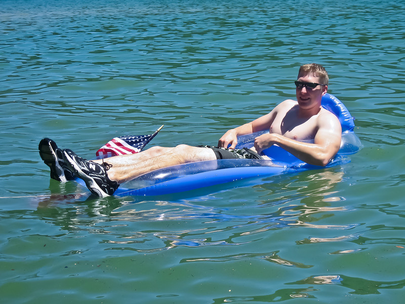 Finally in his floaty, Robert relaxes!