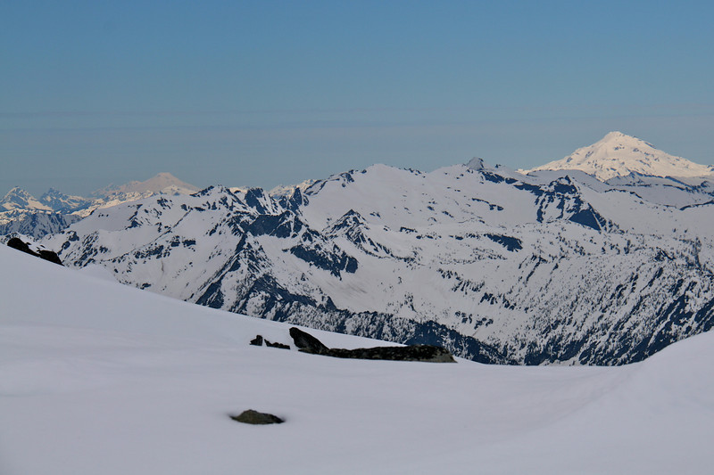 View of Baker and Glacier Peak from our highpoint.