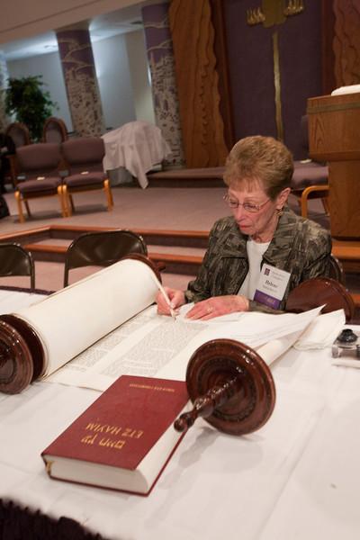 Helene Schrott fills in the fifth-to-last letter