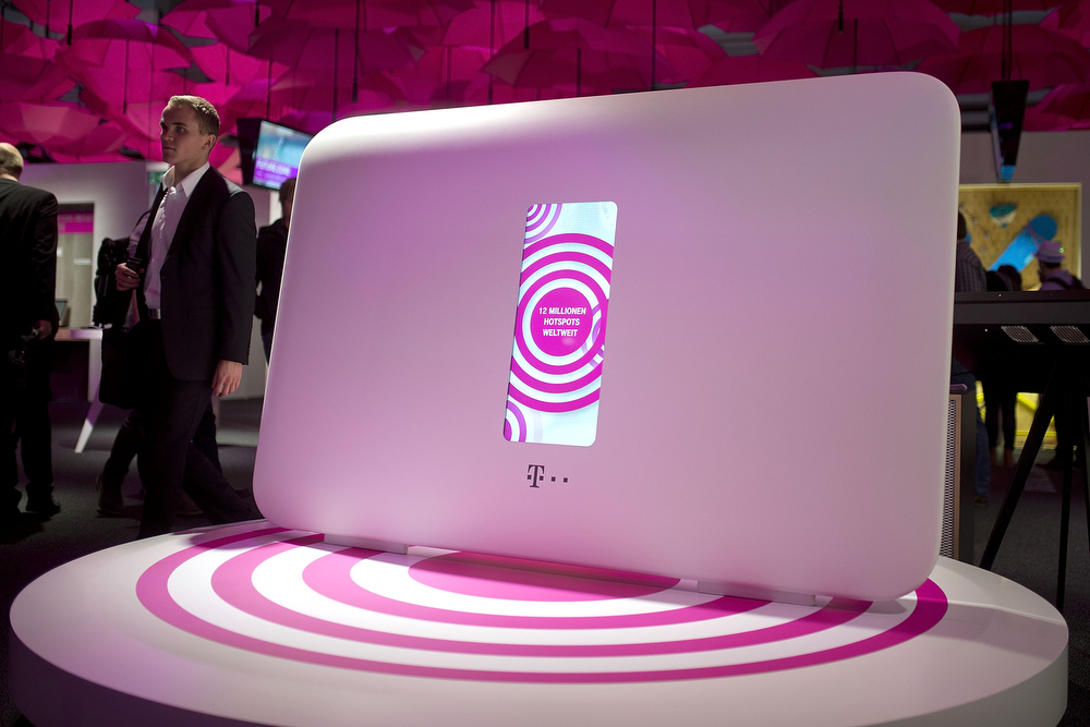 Description of . An oversized hotspot is seen at the Telekom stand at the 2014 CeBIT technology Trade fair on March 10, 2014 in Hanover, Germany. CeBIT is the world's largest technology fair and this year's partner nation is Great Britain.  (Photo by Nigel Treblin/Getty Images)