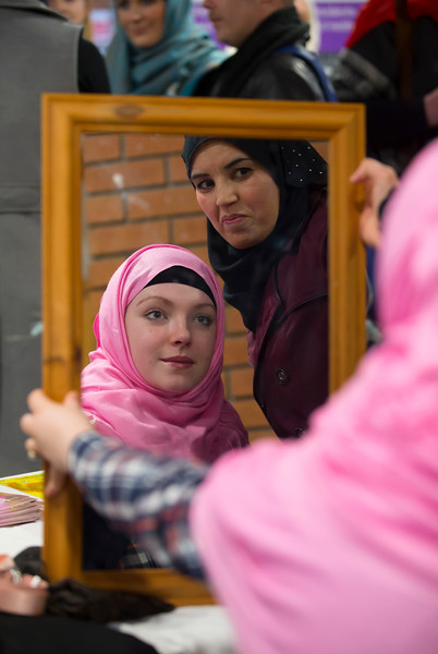 01/02/2017. FREE TO USE IMAGE.  World Hijab Day 2017 at Waterford Institute of Technology. Picture at Waterford Institute of Technology (WIT) who hosted an event for World Hijab Day 2017 at WIT's main campus, Cork Road, Waterford City. Pictured is Roisin Enright WIT Student tryng on a Hijab with Naila Akuar. Picture: Patrick Browne