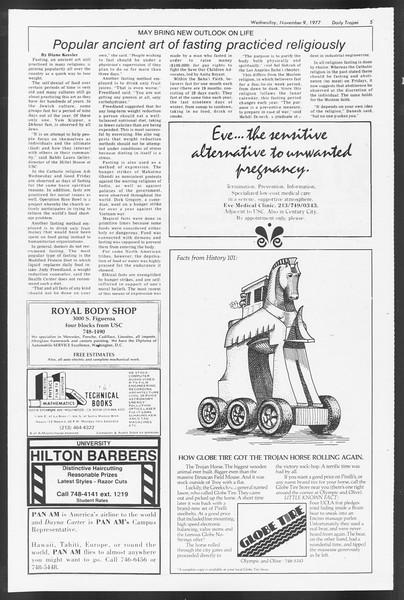 Daily Trojan, Vol. 72, No. 36, November 09, 1977