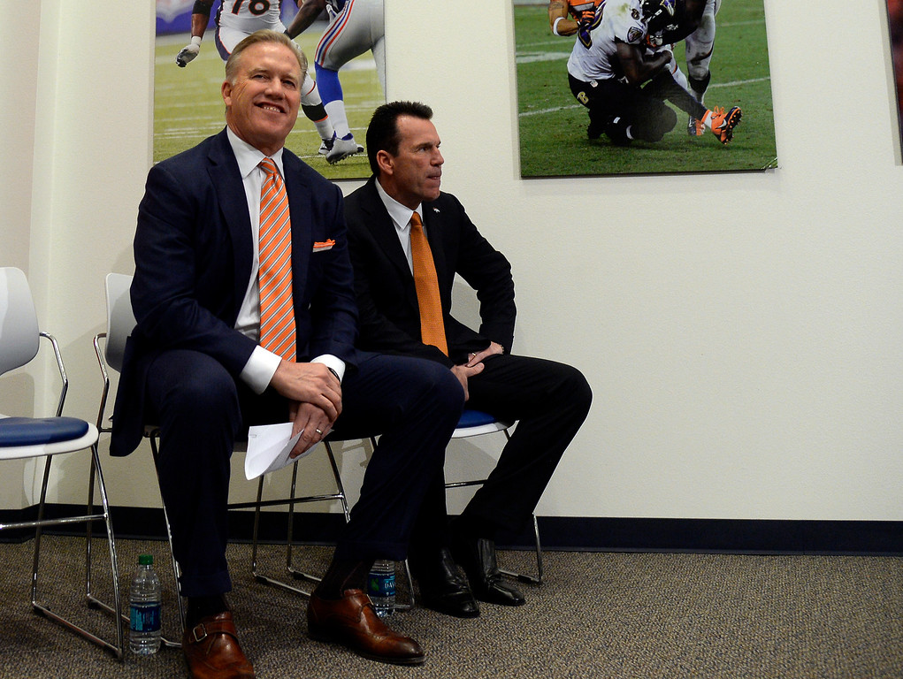 . Denver Broncos John Elway, General Manager and Executive Vice President of Football Operations was all smiles during the press conference introducing Gary Kubiak as the new head coach January 20, 2015 at Dove Valley. Kubiak becomes the 15th head coach in franchise history. (Photo By John Leyba/The Denver Post)