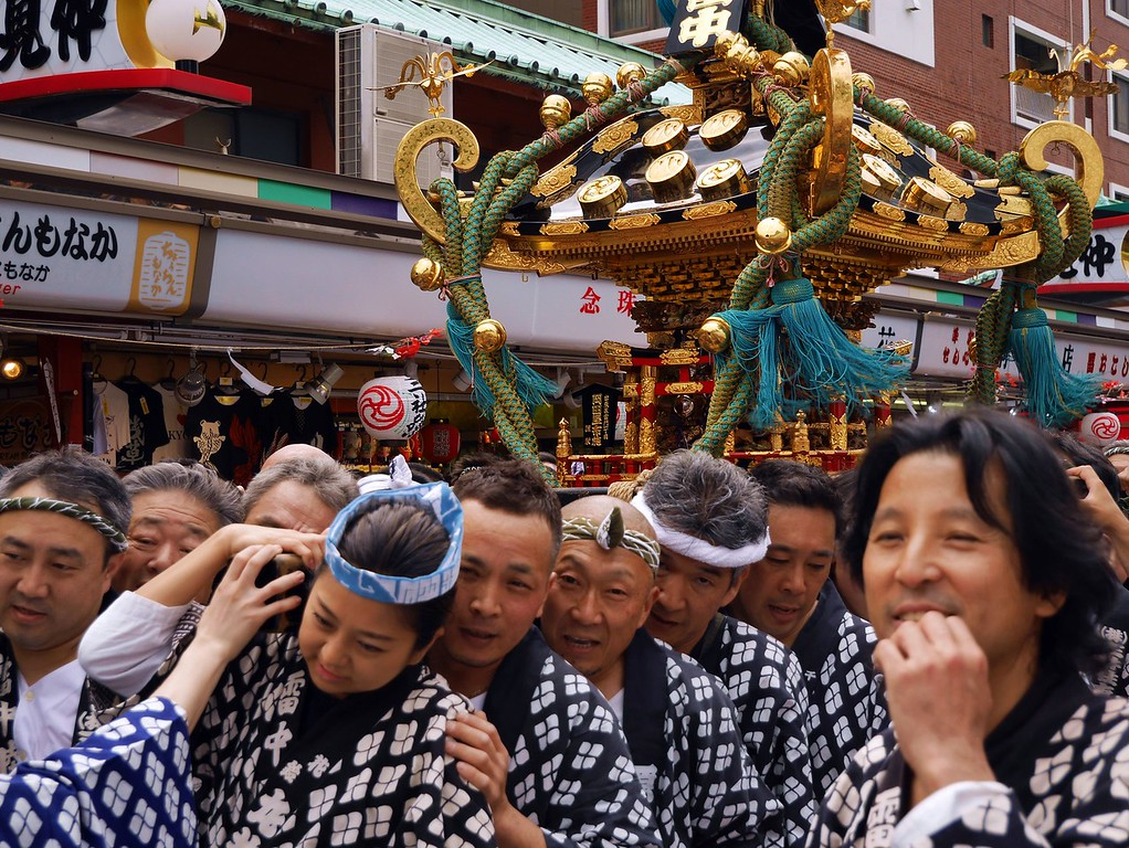 Men carrying a mikoshi at Sanja Matsuri