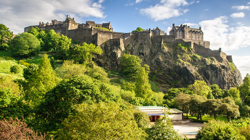 Edinburgh Castle above Princes Street Gardens