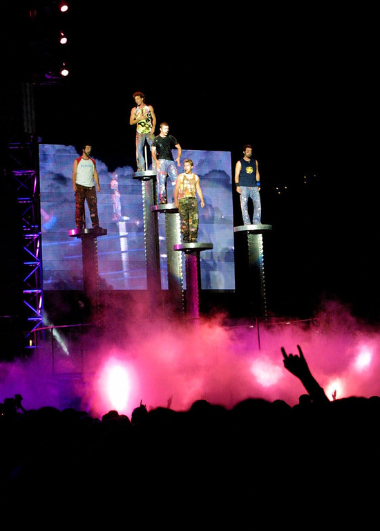. Members of the band \'N Sync raise above the crowd during a performance at Heinz Field in Pittsburgh on Saturday, Aug. 18, 2001. The show is the first event held at the stadium which will be the new home of the Pittsburgh Steelers.(AP Photo/Gary Tramontina)