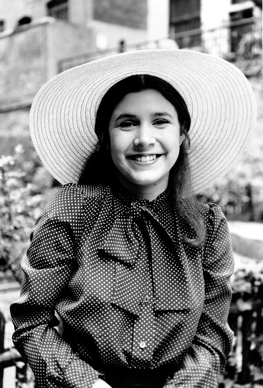 . Actress Carrie Fisher, 16, daughter of Debbie Reynolds and Eddie Fisher, poses in New York City on May 2, 1973.  (AP Photo)