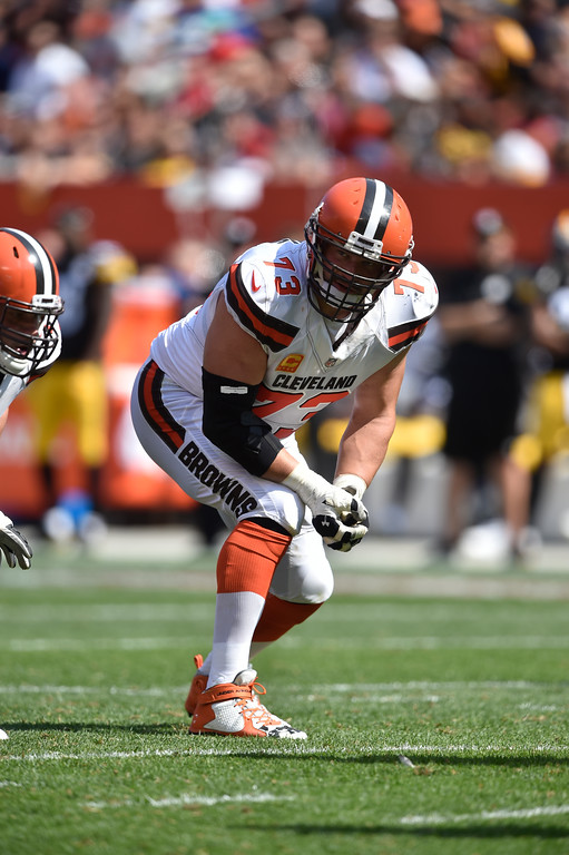 . Cleveland Browns tackle Joe Thomas (73) lines up during an NFL football game against the Pittsburgh Steelers, Sunday, Sept. 10, 2017, in Cleveland. Pittsburgh won 21-18. (AP Photo/David Richard)