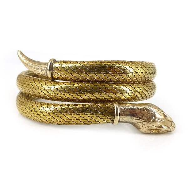 Antique Art Deco Rolled Gold Coiled Serpent Snake Bracelet