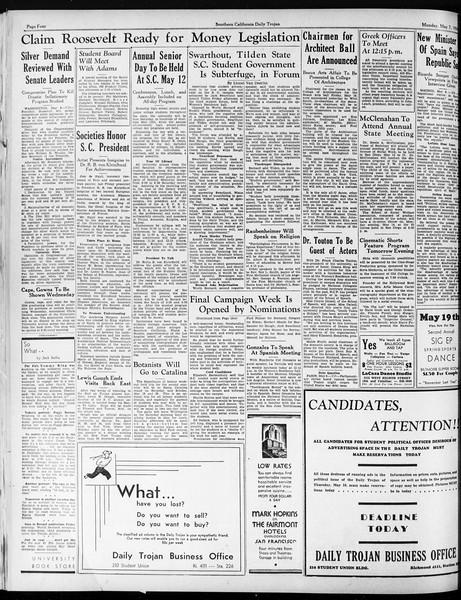 Daily Trojan, Vol. 25, No. 129, May 07, 1934