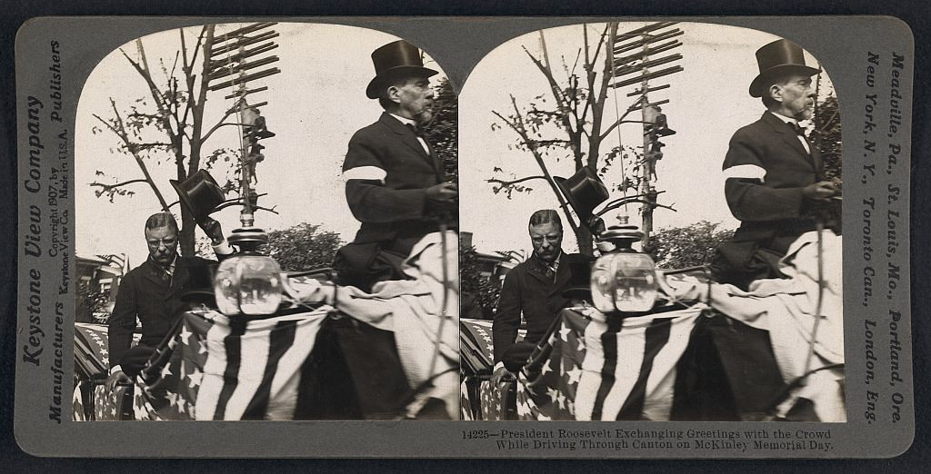 . President Roosevelt exchanging greetings with the crowd while driving through Canton on McKinley Memorial Day. Keystone View Company, publisher.  Courtesy the Library of Congress