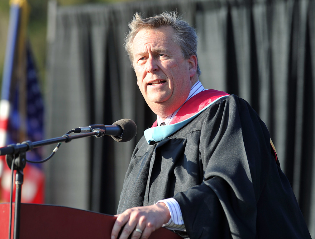 . School Board member Leighton Anderson speaks during La Serna High School\'s 51st Annual Commencement at La Mirada High School stadium in La Mirada on Thursday June 13, 2013. La Serna marked the commencement of 635 graduates and marking Principal Ann Fitzgerald\'s first graduation as principal. (SGVN/Staff Photo by Keith Durflinger)