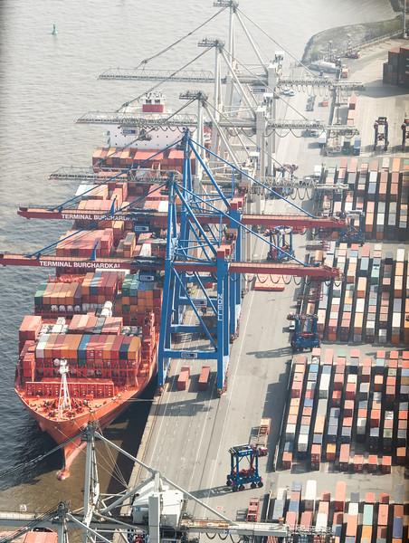 Luftbild Athabaskakai Hamburg Süd schiff