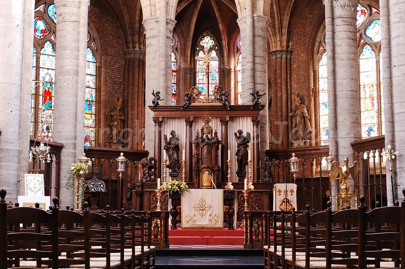 View on the interior of the Saint Walburga Church (Sint Walburgakerk) in Veurne, Belgium.
