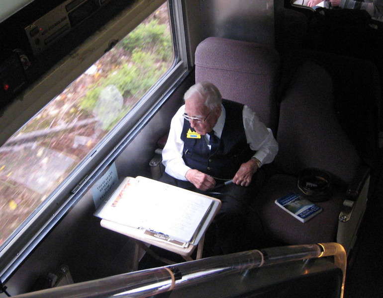 Eddie the tour guide and historian - Conway Scenic Railway Trip, New Hampshire