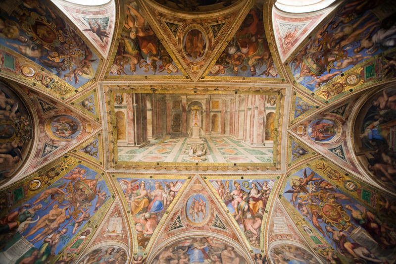 Triumph of Christian religion (central panel). Ceiling of the room of Constantine (1517-1524), Raphael's Rooms, Vatican Museums