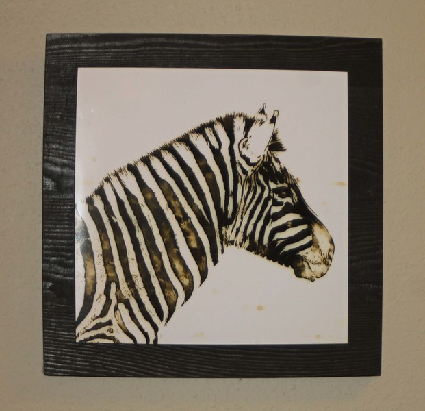 6 x 6 Zebra Print on 10 x 10 Wooden Chocolate Brown Panel