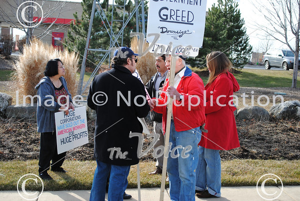Northern Illinois Jobs with Justice Rally at Bank of America Randall Road and Fabyan Parkway in Batavia, IL 1-6-12
