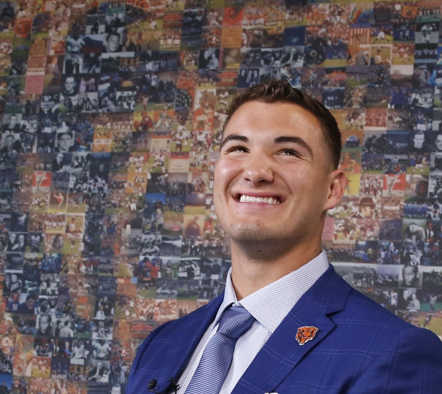 . The Chicago Bears\' first round draft pick quarterback Mitchell Trubisky, smiles between one on one television interviews after an NFL football news conference Friday, April 28, 2017, in Lake Forest , Ill. (AP Photo/Charles Rex Arbogast)