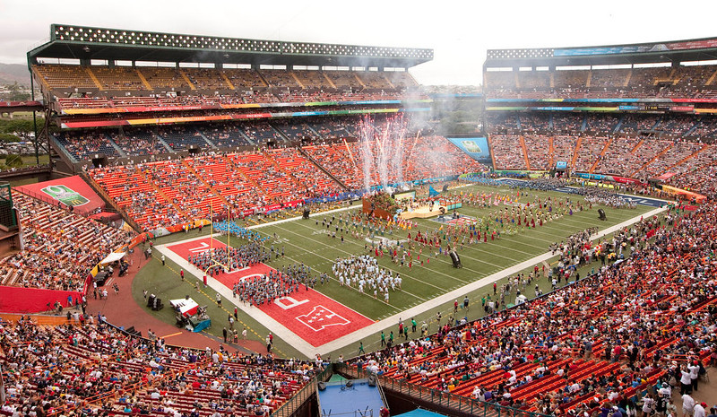 . The musical group Train entertains the crowd during the pre game show of the NFL Pro Bowl football game in Honolulu, Sunday, Jan. 27, 2013. (AP Photo/Eugene Tanner)