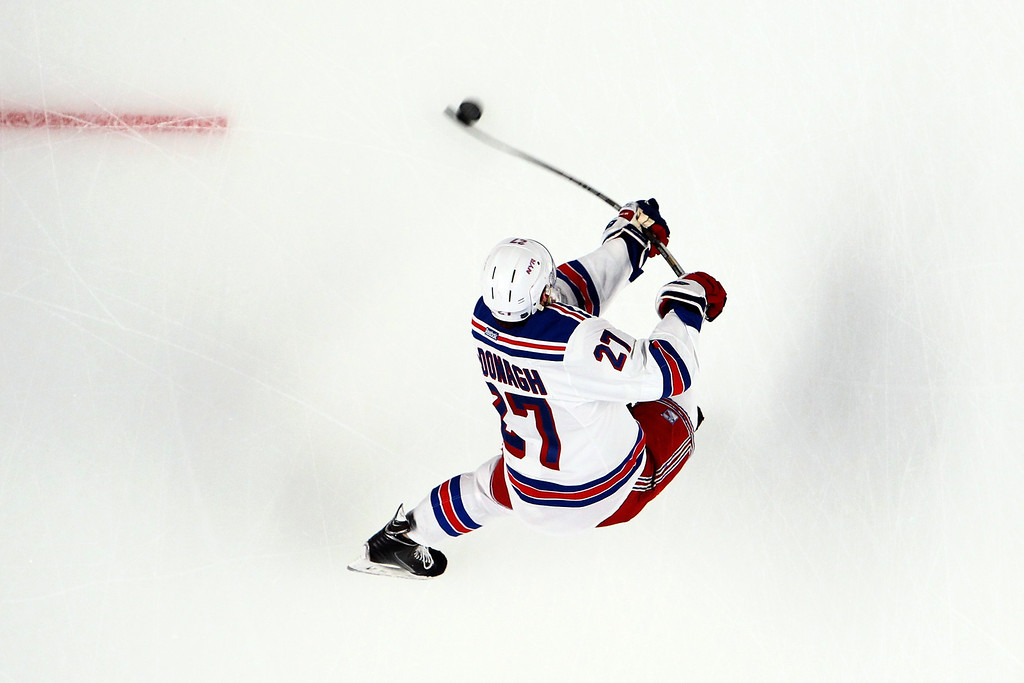 . Ryan McDonagh #27 of the New York Rangers warms up prior to Game Two of the Eastern Conference Final against the Montreal Canadiens during the 2014 Stanley Cup Playoffs at Bell Centre on May 19, 2014 in Montreal, Canada.  (Photo by Francois Laplante/FreestylePhoto/Getty Images)