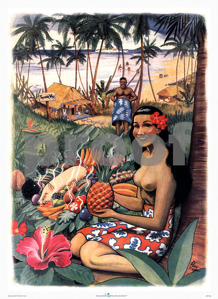 216: Restaurant Menu from a well-known restaurant chain, showing a Hawaiian 'wahine' holding a pineapple amidst local food such as kalua pig. Ca. 1945. (PROOF watermark will not appear on your print)