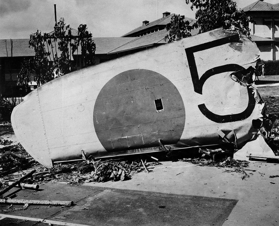 . The wing of a Japanese bomber shot down on the grounds of the Naval Hospital at Honolulu, Hawaii, Dec. 7, 1941. (AP Photo)