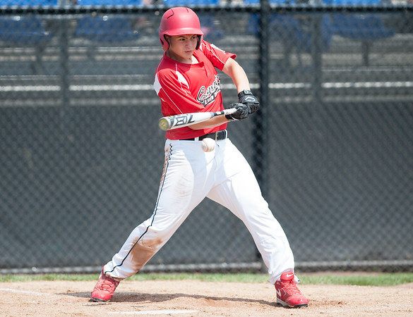 08/06/18 Wesley Bunnell   Staff Rhode Island defeated Vermont 10-0 in a 2018 East Regional Little League game in Bristol on Monday afternoon. Logan Lama (15) singles to right field.