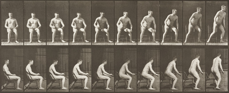 Nude man rising from chair (Animal Locomotion, 1887, plate 249)