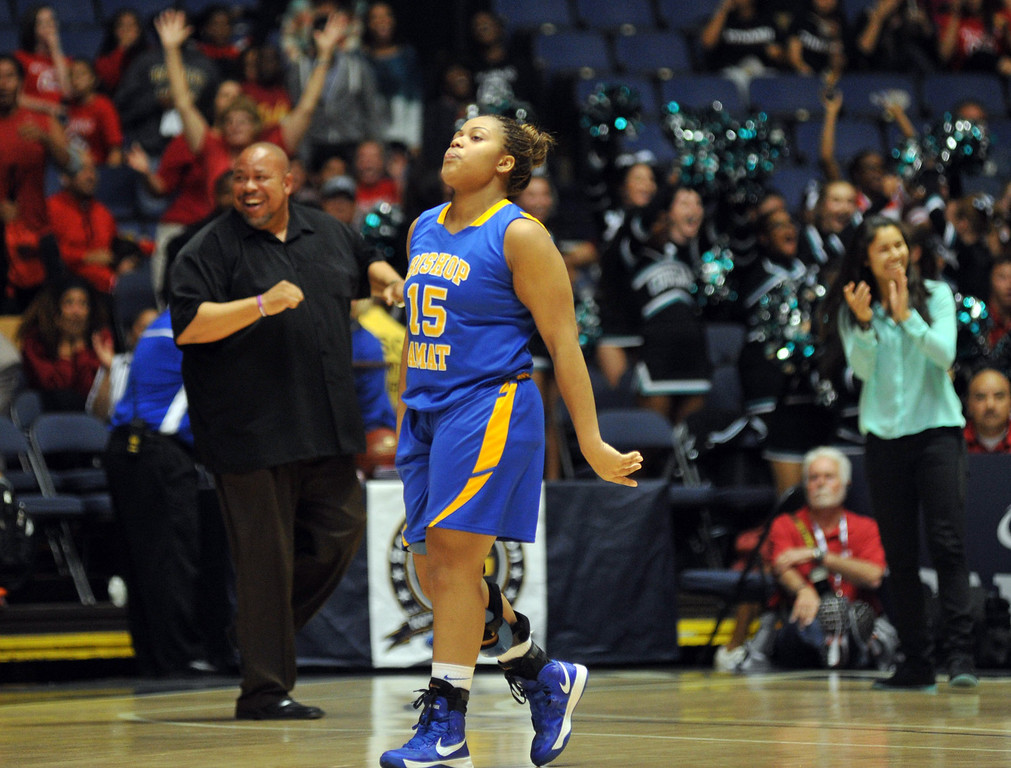 . Bishop Amat\'s Leeah Powell (#15) reacts after their loss to Canyon Springs in the CIF-SS Division 1A girls basketball finals at the Anaheim Arena on Friday February 28, 2013. Canyon Springs beat Bishop Amat 48-46. (SGVN/Staff Photo by Keith Durflinger)