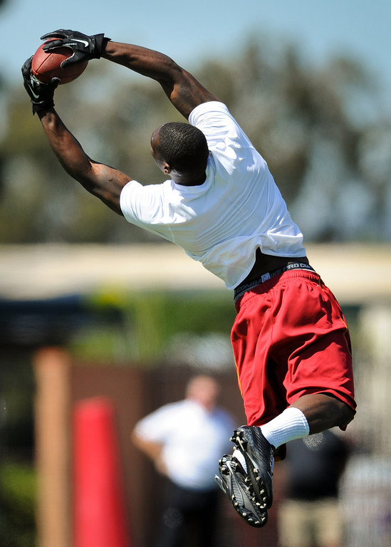 . Marqise Lee makes a leaping catch at USC Pro Day, Wednesday, March 12, 2014, at USC. (Photo by Michael Owen Baker/L.A. Daily News)