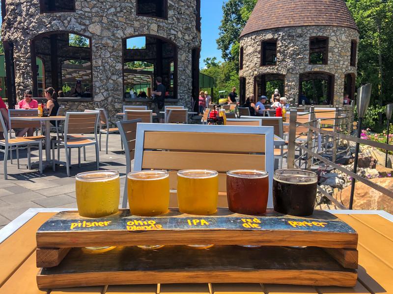 Beer flight at Twin Oast Brewing