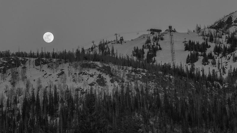 Full moon rising over Brianhead Ski Resort in Southwest Utah.