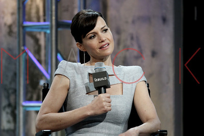 """New York, NY - May 11:  Carla Gugino at The AOL BUILD Speakers Series, discussing her new miniseries """"Wayward Pines"""" at AOL Studios."""