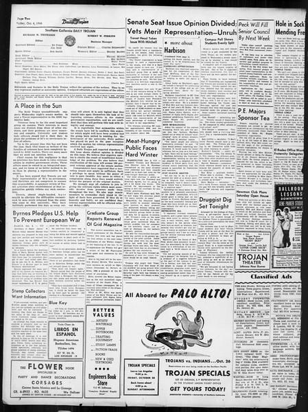 Daily Trojan, Vol. 38, No. 15, October 04, 1946
