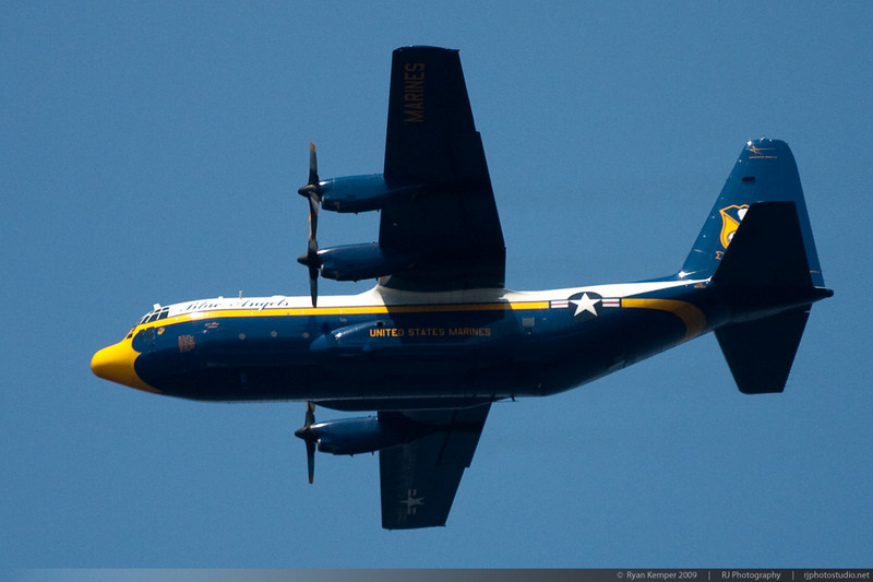 """The Blue Angels """"Fat Albert"""", a   United States Marine Corps C-130T Hercules flies overhead during the start of the Key Bank Airshow on Sunday August 2nd, 2009"""