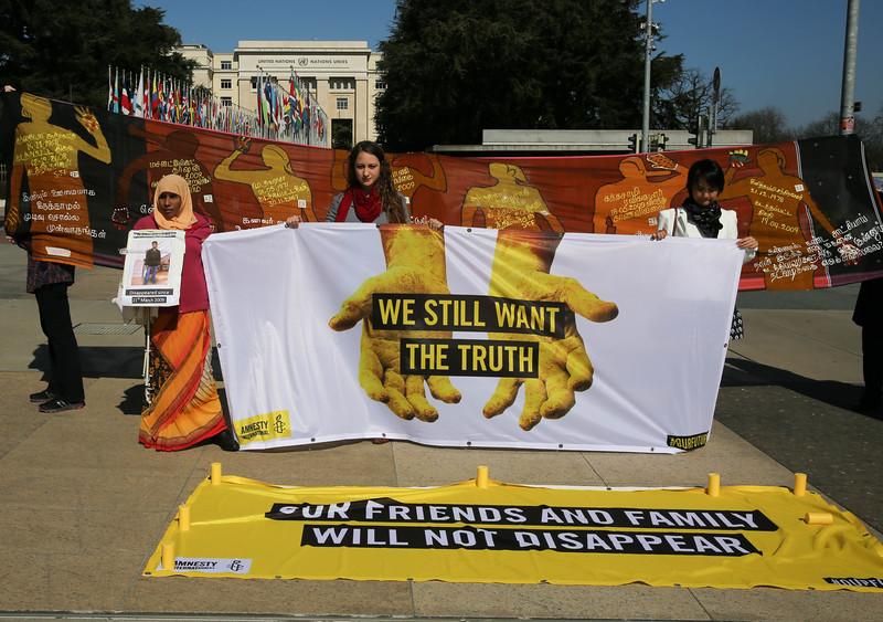 Al vigil against disappearance in SL on 12.03.2015  UN square, Geneva  9