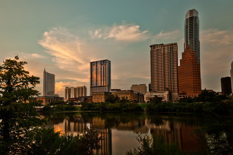 Skyline of Austin, TX downtown. Looking north from the south side of the river, immediately next to the Congress Ave Bridge.