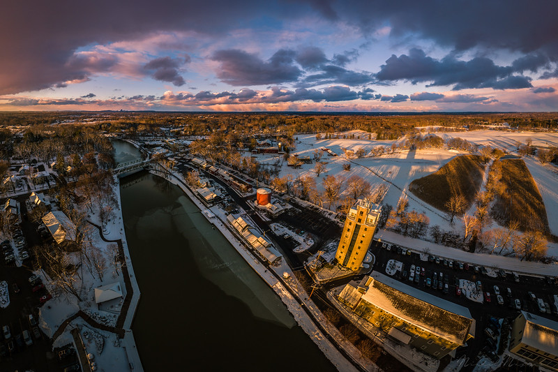A wintery sunset in Pittsford