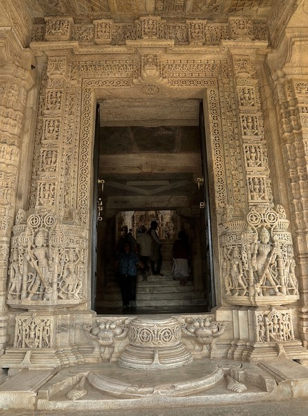 Exquisite detail on the main entry into Ranakpur Jain Temple