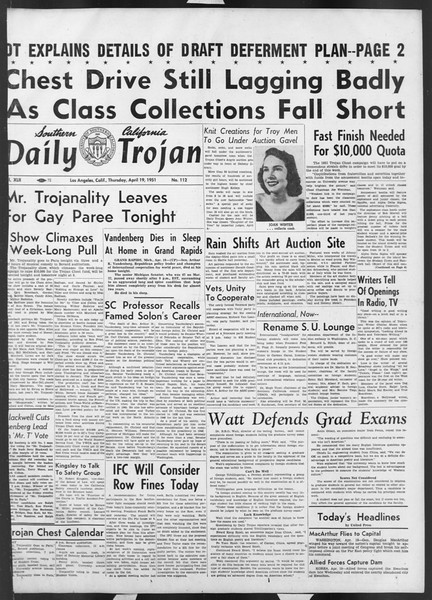Daily Trojan, Vol. 42, No. 112, April 19, 1951