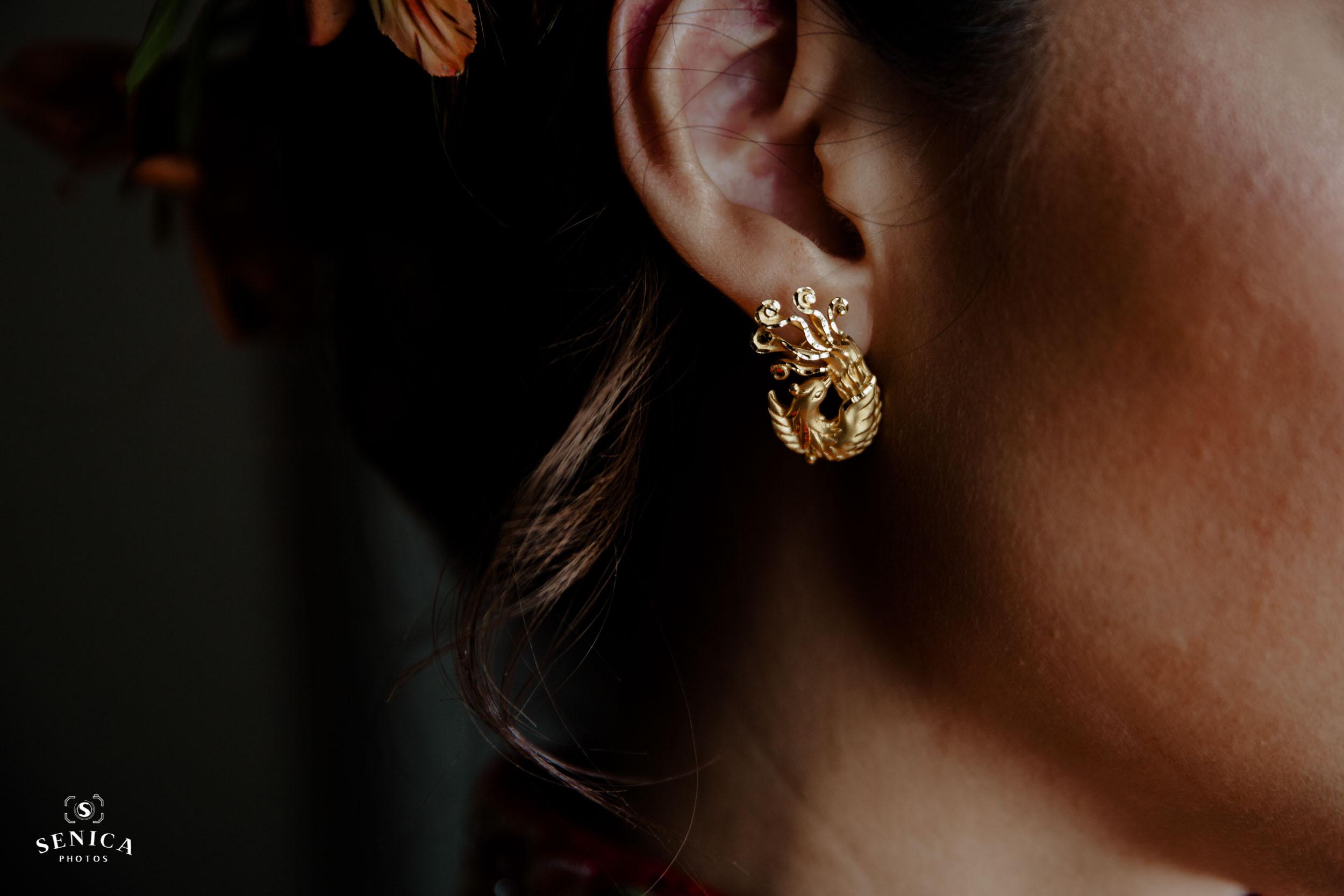 Gold Phenix Earring