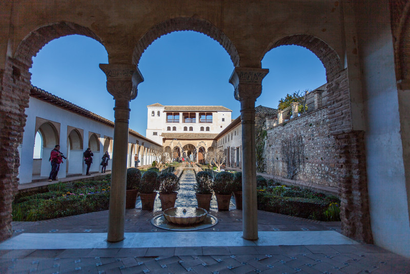 Some detail of the gardens in the Generalife at the Alhambra in Granada, Spain.