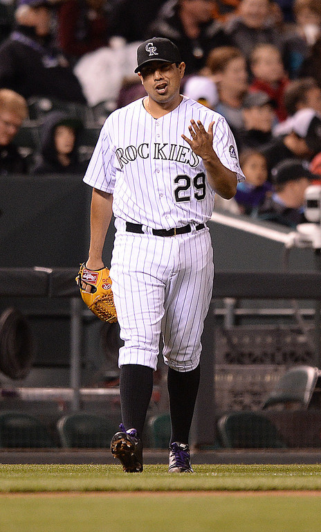 . DENVER, CO - MAY 15: Colorado pitcher Jorge De La Rosa reacted after he gave up a hit in the seventh inning.  The Colorado Rockies defeated the San Diego Padres 3-1 at Coors Field  Friday night, May 16, 2014. (Photo by Karl Gehring/The Denver Post)