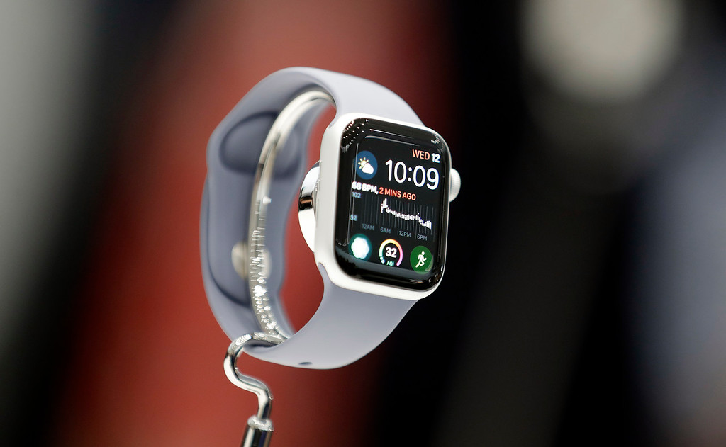 . The new Apple Watch 4 is on display at the Steve Jobs Theater during an event to announce new products Wednesday, Sept. 12, 2018, in Cupertino, Calif. (AP Photo/Marcio Jose Sanchez)