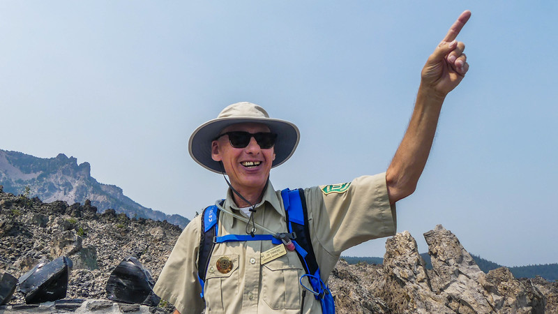 volunteer ranger roving at the top of the trail