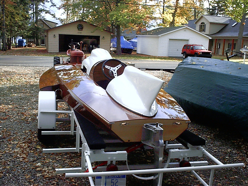 Rear port view of completed boat.