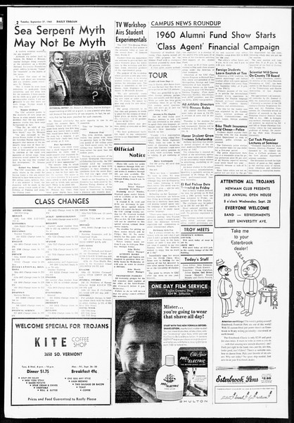 Daily Trojan, Vol. 52, No. 7, September 27, 1960