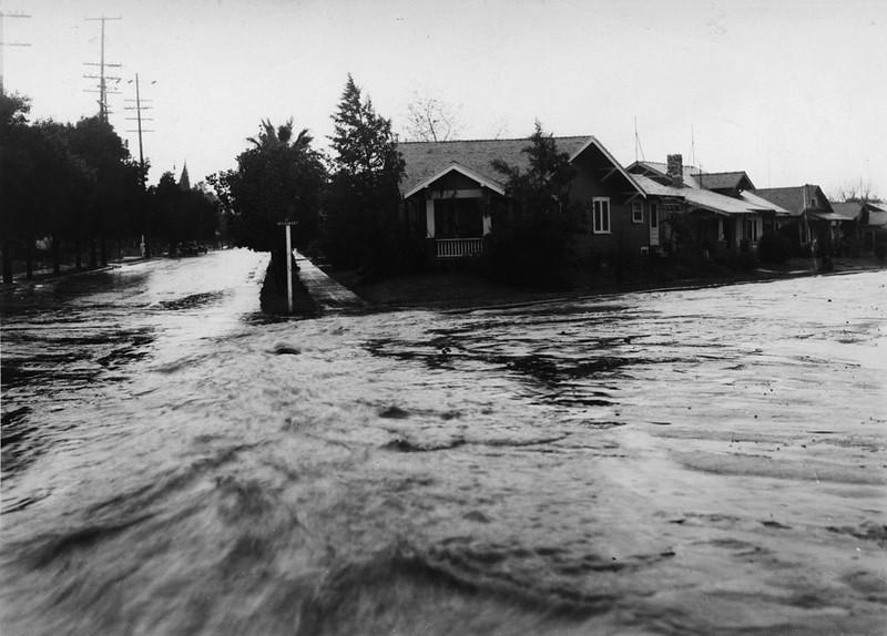 Flooded street at Buchanan and Aldama