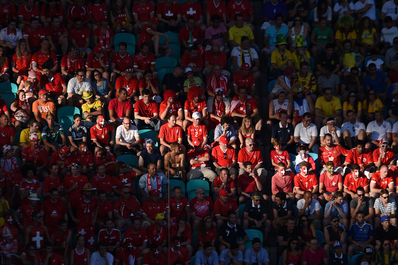 . Swiss supporters watch a Group E football match between Switzerland and France at the Fonte Nova Arena in Salvador during the 2014 FIFA World Cup on June 20, 2014.  (DIMITAR DILKOFF/AFP/Getty Images)
